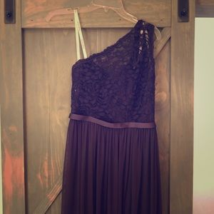 One shoulder purple formal dress